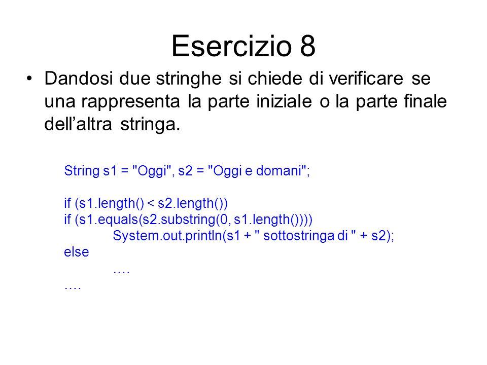 Esercizio 8 Dandosi due stringhe si chiede di verificare se una rappresenta la parte iniziale o la parte finale dellaltra stringa. String s1 =