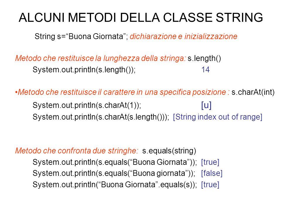 ALCUNI METODI DELLA CLASSE STRING Metodo che restituisce la lunghezza della stringa: s.length() System.out.println(s.length());14 Metodo che restituis