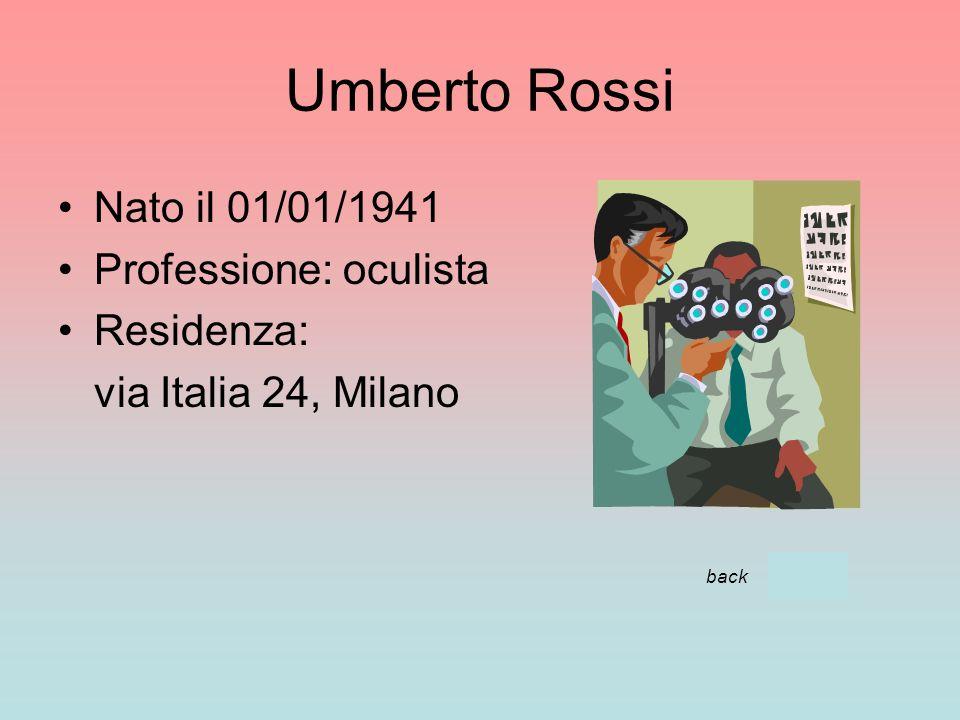 Umberto Rossi Nato il 01/01/1941 Professione: oculista Residenza: via Italia 24, Milano back