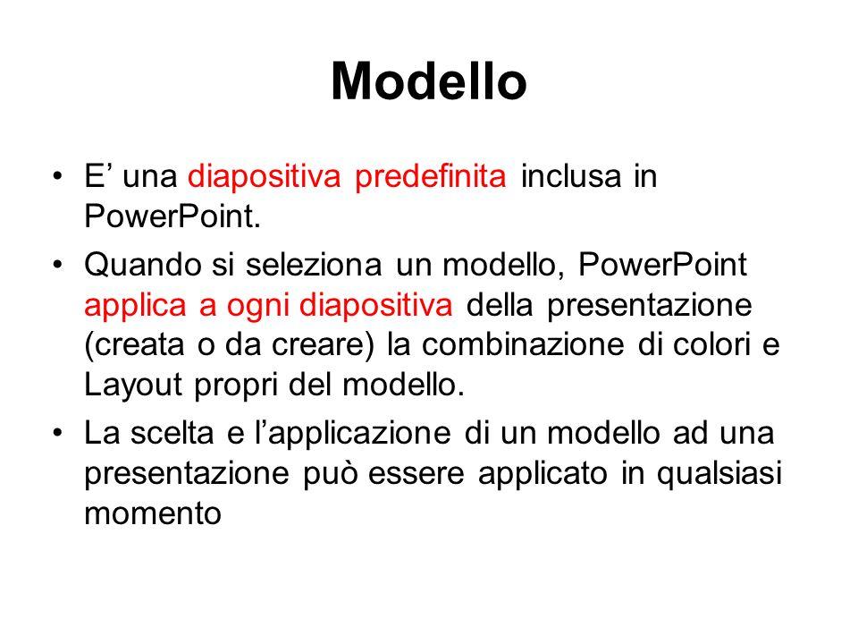 Modello E una diapositiva predefinita inclusa in PowerPoint.