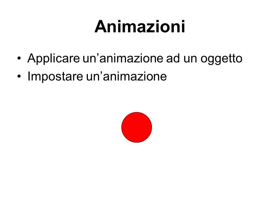 Animazioni Applicare unanimazione ad un oggetto Impostare unanimazione
