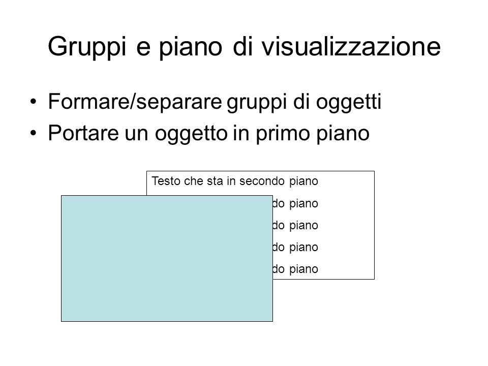 Gruppi e piano di visualizzazione Formare/separare gruppi di oggetti Portare un oggetto in primo piano Testo che sta in secondo piano