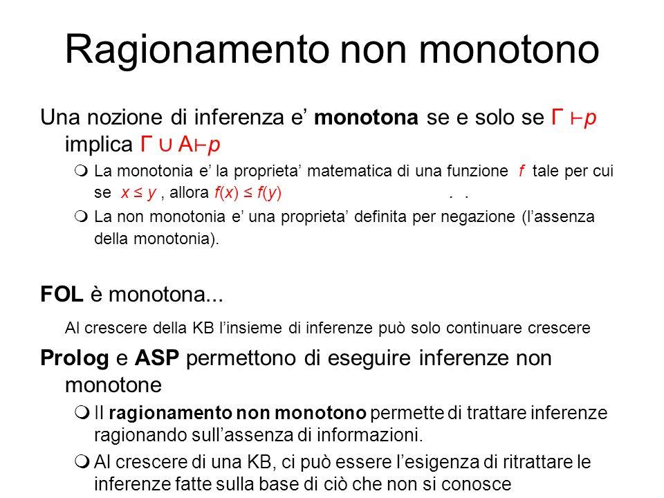 Ragionamento non monotono Una nozione di inferenza e monotona se e solo se Г p implica Г A p mLa monotonia e la proprieta matematica di una funzione f tale per cui se x y, allora f(x) f(y)..