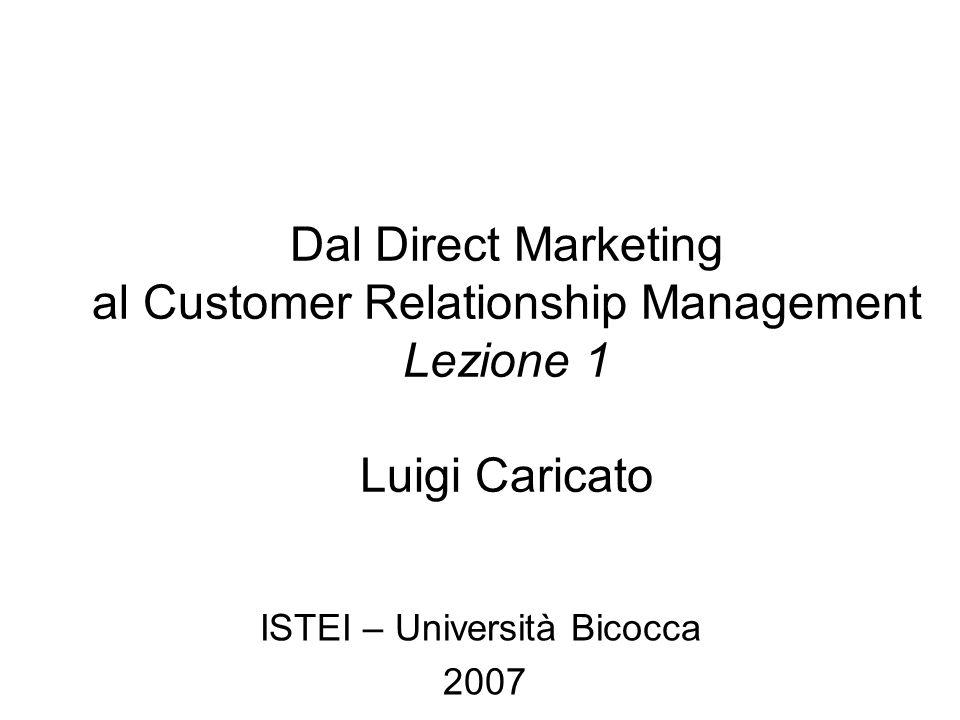 Luigi Caricato – Dal DM al CRM Media: brand e interattività Bassa Brand Response Alta Brand Response Alta Direct Response Bassa Direct Response Web Radio Outdoor Direct Print E-Mail TV