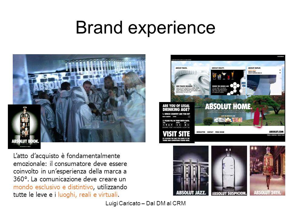 Luigi Caricato – Dal DM al CRM Brand experience Latto dacquisto è fondamentalmente emozionale: il consumatore deve essere coinvolto in unesperienza della marca a 360°.