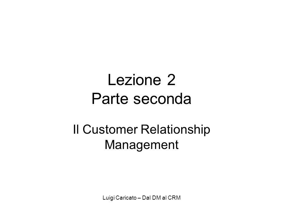 Luigi Caricato – Dal DM al CRM Lezione 2 Parte seconda Il Customer Relationship Management