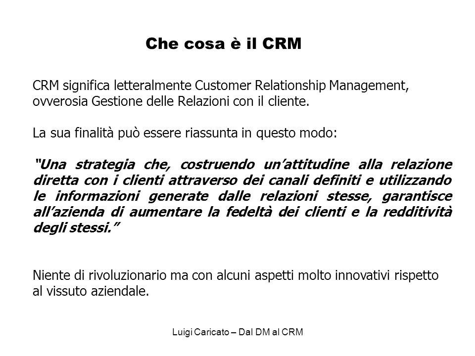 Luigi Caricato – Dal DM al CRM Che cosa è il CRM CRM significa letteralmente Customer Relationship Management, ovverosia Gestione delle Relazioni con il cliente.