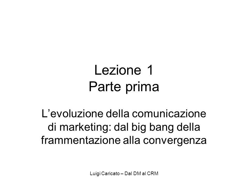Luigi Caricato – Dal DM al CRM Lezione 1 Parte prima Levoluzione della comunicazione di marketing: dal big bang della frammentazione alla convergenza