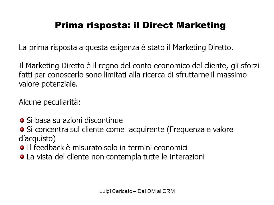 Luigi Caricato – Dal DM al CRM La prima risposta a questa esigenza è stato il Marketing Diretto.