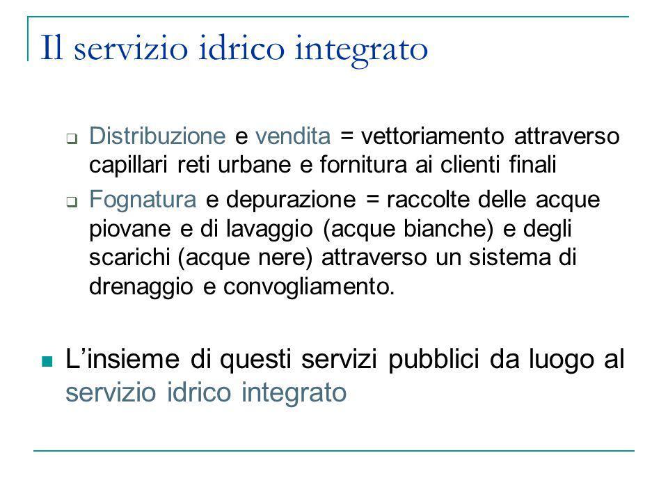 Il servizio idrico integrato Distribuzione e vendita = vettoriamento attraverso capillari reti urbane e fornitura ai clienti finali Fognatura e depura