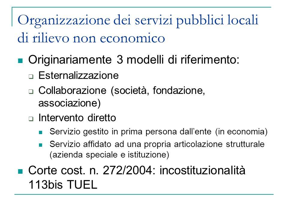 Organizzazione dei servizi pubblici locali di rilievo non economico Originariamente 3 modelli di riferimento: Esternalizzazione Collaborazione (societ