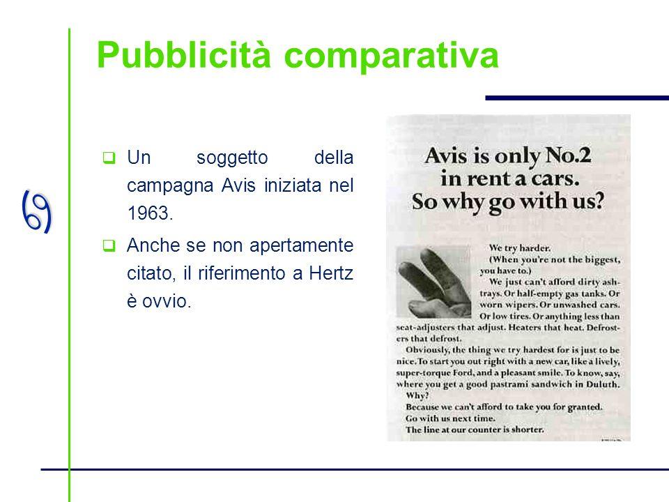 a Pubblicità comparativa Un soggetto della campagna Avis iniziata nel 1963. Anche se non apertamente citato, il riferimento a Hertz è ovvio.