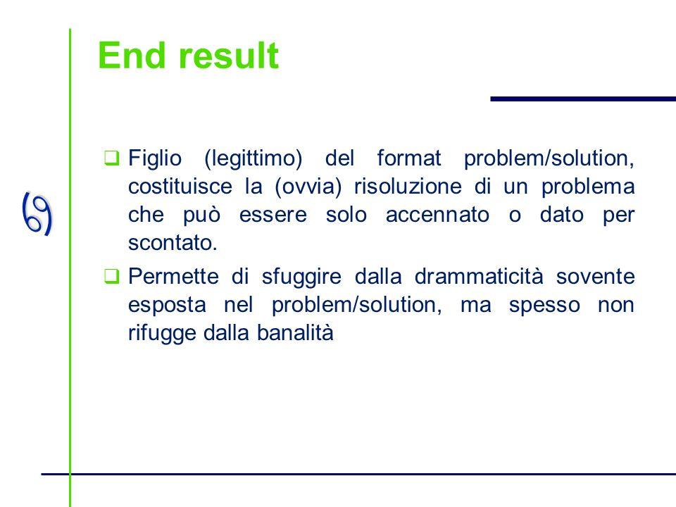 a End result Figlio (legittimo) del format problem/solution, costituisce la (ovvia) risoluzione di un problema che può essere solo accennato o dato pe