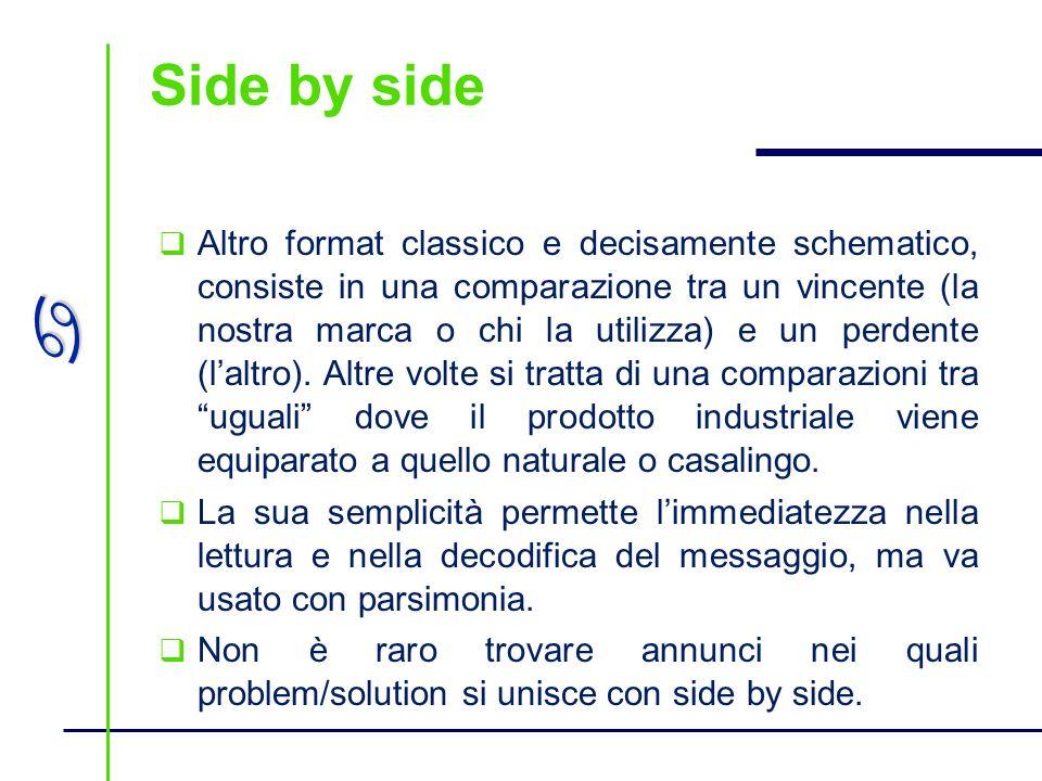 a Side by side Altro format classico e decisamente schematico, consiste in una comparazione tra un vincente (la nostra marca o chi la utilizza) e un p