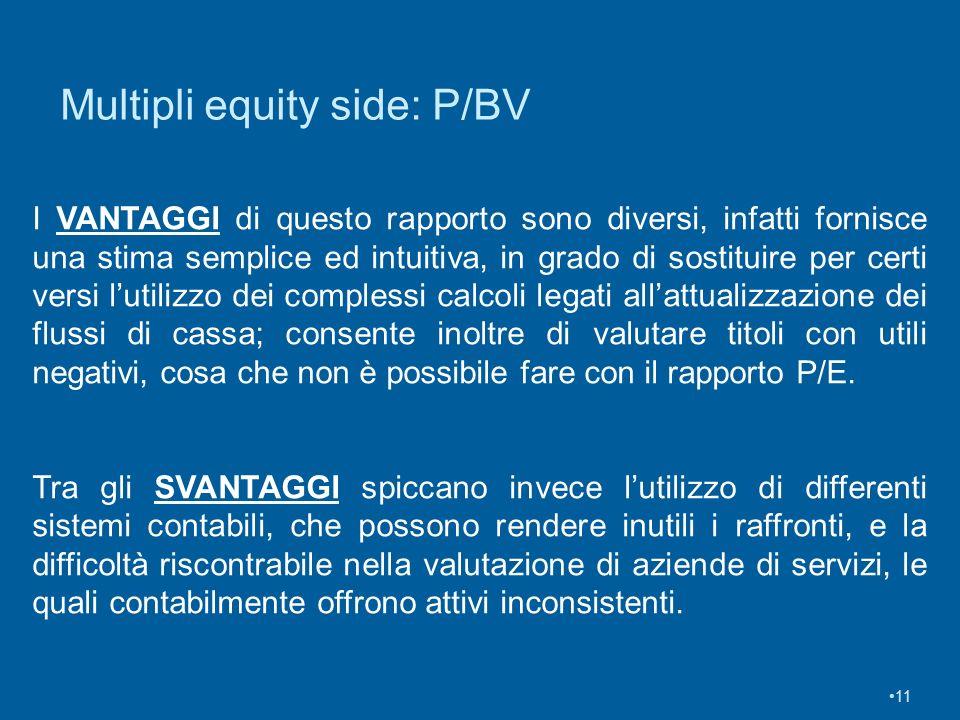11 Multipli equity side: P/BV I VANTAGGI di questo rapporto sono diversi, infatti fornisce una stima semplice ed intuitiva, in grado di sostituire per