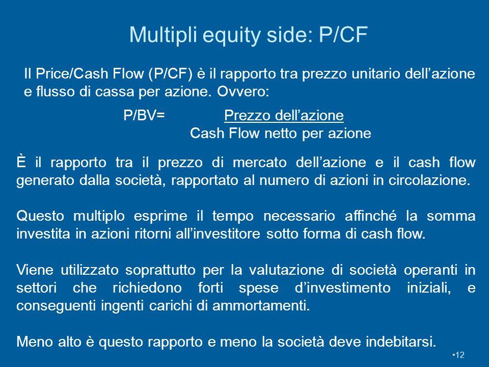 Multipli equity side: P/CF 12 Il Price/Cash Flow (P/CF) è il rapporto tra prezzo unitario dellazione e flusso di cassa per azione. Ovvero: P/BV= Prezz