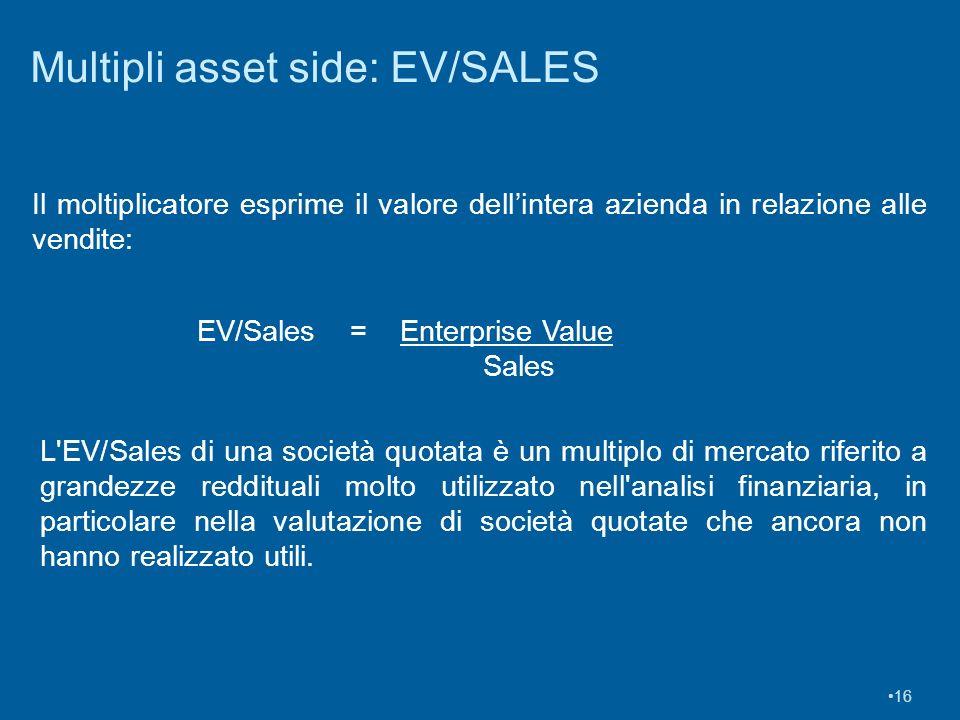16 Multipli asset side: EV/SALES Il moltiplicatore esprime il valore dellintera azienda in relazione alle vendite: EV/Sales = Enterprise Value Sales L