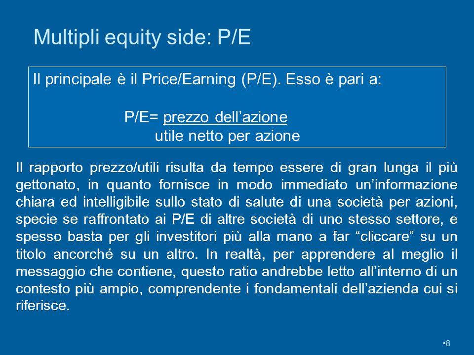 8 Il principale è il Price/Earning (P/E). Esso è pari a: P/E= prezzo dellazione utile netto per azione Multipli equity side: P/E Il rapporto prezzo/ut
