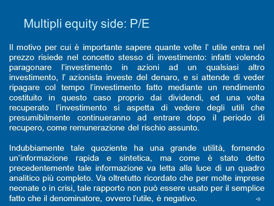 9 Multipli equity side: P/E Il motivo per cui è importante sapere quante volte l utile entra nel prezzo risiede nel concetto stesso di investimento: i
