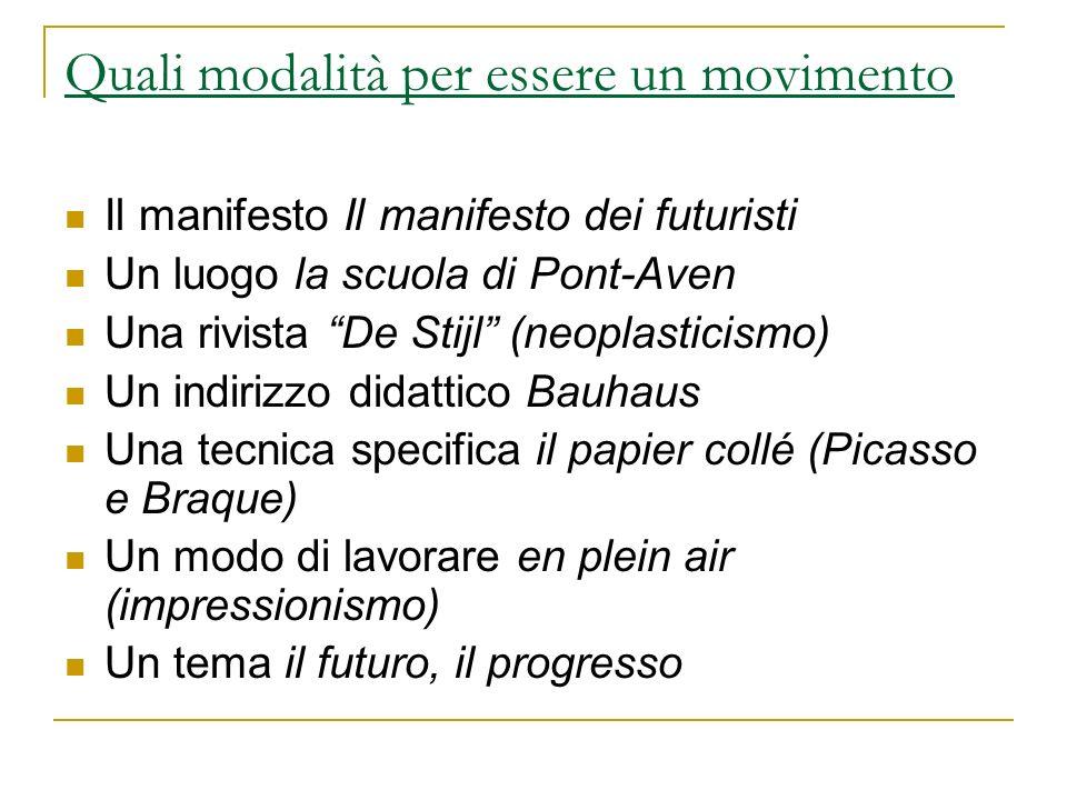 Quali modalità per essere un movimento Il manifesto Il manifesto dei futuristi Un luogo la scuola di Pont-Aven Una rivista De Stijl (neoplasticismo) U