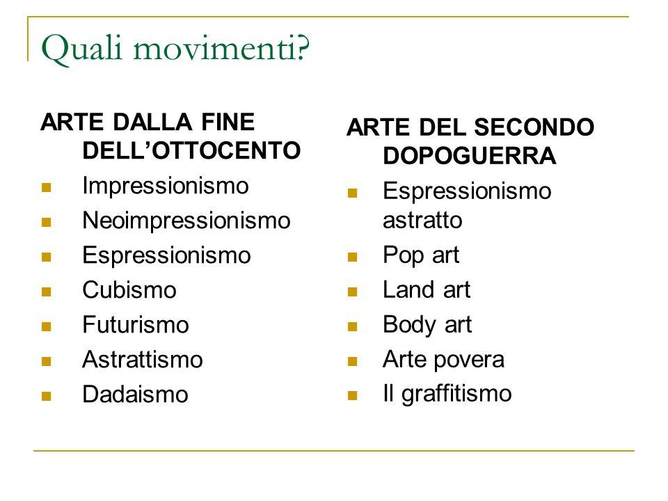 Quali movimenti? ARTE DALLA FINE DELLOTTOCENTO Impressionismo Neoimpressionismo Espressionismo Cubismo Futurismo Astrattismo Dadaismo ARTE DEL SECONDO