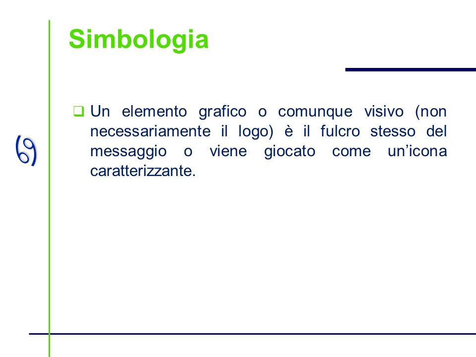 a Simbologia Un elemento grafico o comunque visivo (non necessariamente il logo) è il fulcro stesso del messaggio o viene giocato come unicona caratte