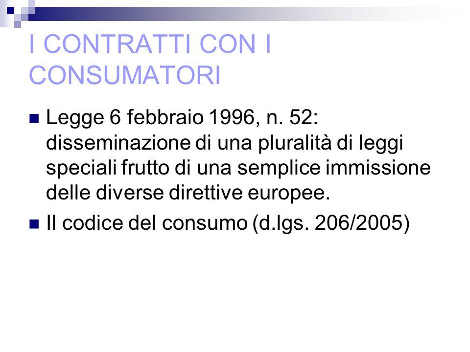 I CONTRATTI CON I CONSUMATORI Legge 6 febbraio 1996, n.