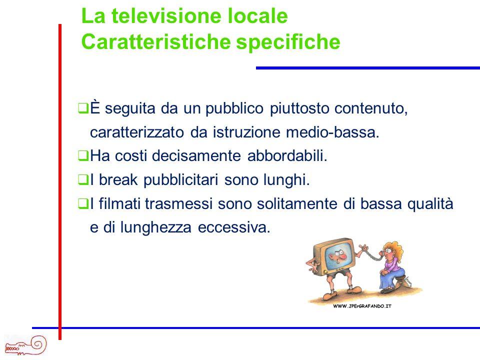 La televisione locale Caratteristiche specifiche È seguita da un pubblico piuttosto contenuto, caratterizzato da istruzione medio-bassa. Ha costi deci