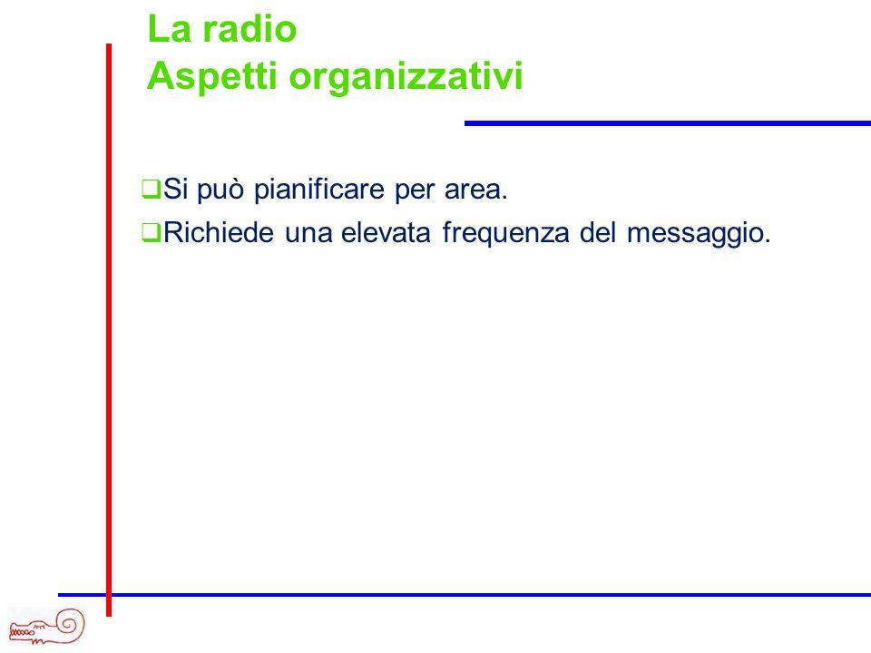 La radio Aspetti organizzativi Si può pianificare per area. Richiede una elevata frequenza del messaggio.