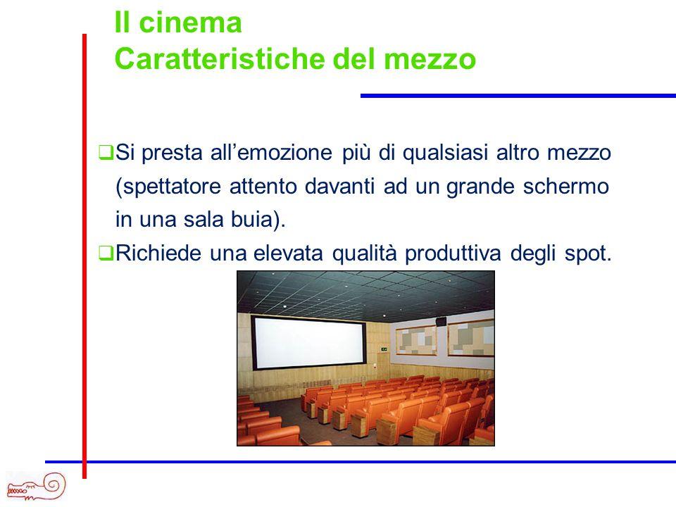 Caratteristiche del mezzo Si presta allemozione più di qualsiasi altro mezzo (spettatore attento davanti ad un grande schermo in una sala buia).