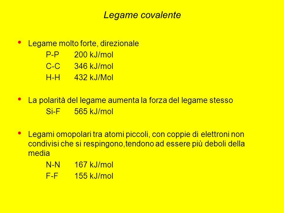Legame covalente Legame molto forte, direzionale P-P200 kJ/mol C-C346 kJ/mol H-H432 kJ/Mol La polarità del legame aumenta la forza del legame stesso Si-F565 kJ/mol Legami omopolari tra atomi piccoli, con coppie di elettroni non condivisi che si respingono,tendono ad essere più deboli della media N-N167 kJ/mol F-F155 kJ/mol
