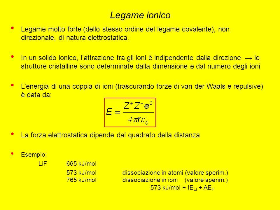 Legame ionico Legame molto forte (dello stesso ordine del legame covalente), non direzionale, di natura elettrostatica.
