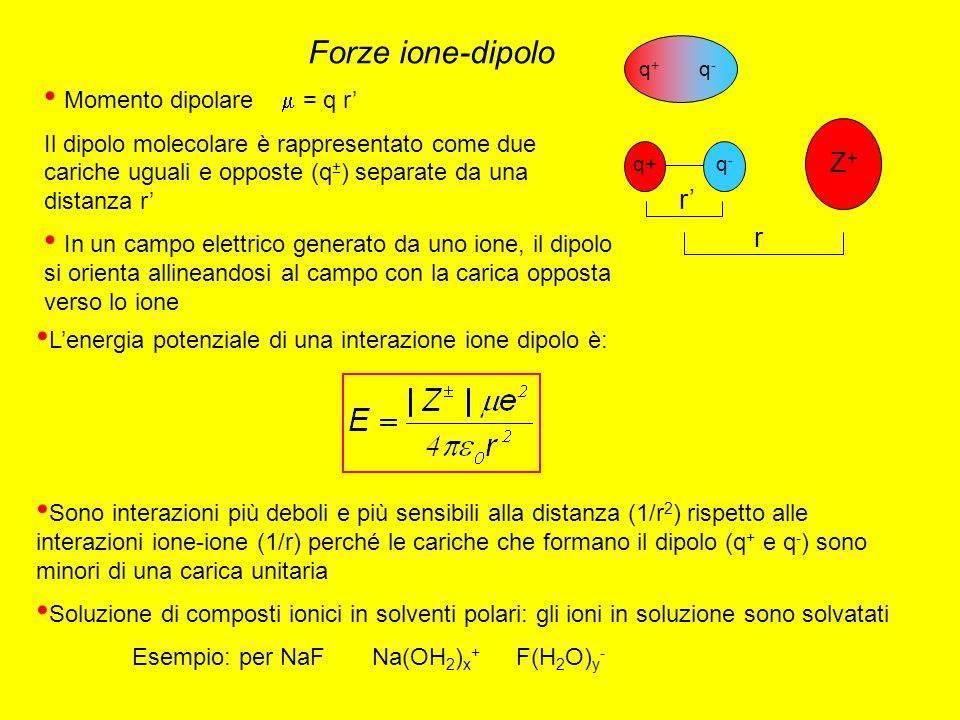 Forze ione-dipolo Momento dipolare = q r Il dipolo molecolare è rappresentato come due cariche uguali e opposte (q ± ) separate da una distanza r In un campo elettrico generato da uno ione, il dipolo si orienta allineandosi al campo con la carica opposta verso lo ione q + q - r r Z+Z+ q-q- q+ Lenergia potenziale di una interazione ione dipolo è: Sono interazioni più deboli e più sensibili alla distanza (1/r 2 ) rispetto alle interazioni ione-ione (1/r) perché le cariche che formano il dipolo (q + e q - ) sono minori di una carica unitaria Soluzione di composti ionici in solventi polari: gli ioni in soluzione sono solvatati Esempio: per NaF Na(OH 2 ) x + F(H 2 O) y -