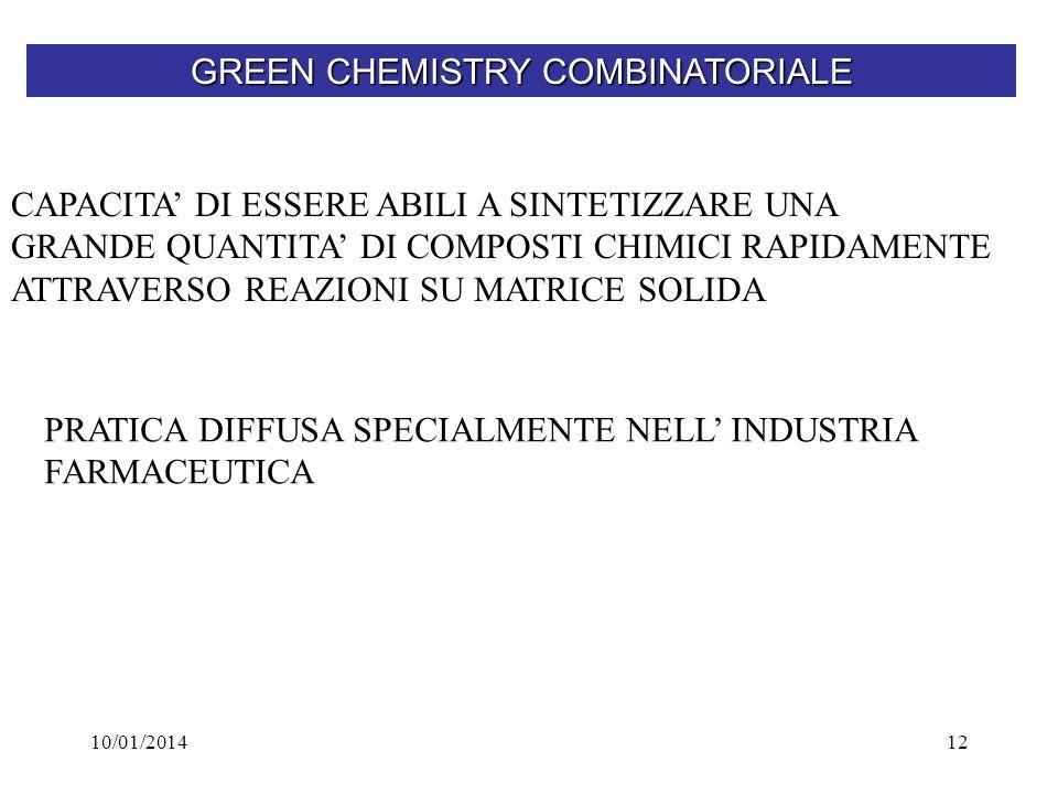 10/01/201412 GREEN CHEMISTRY COMBINATORIALE CAPACITA DI ESSERE ABILI A SINTETIZZARE UNA GRANDE QUANTITA DI COMPOSTI CHIMICI RAPIDAMENTE ATTRAVERSO REA