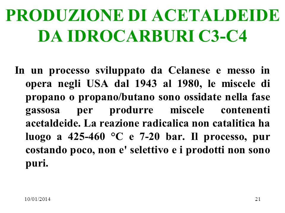 10/01/201421 PRODUZIONE DI ACETALDEIDE DA IDROCARBURI C3-C4 In un processo sviluppato da Celanese e messo in opera negli USA dal 1943 al 1980, le misc