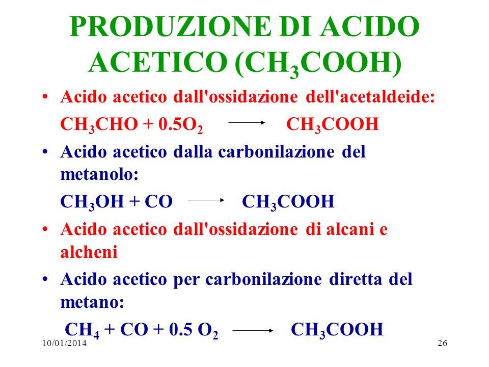 10/01/201426 PRODUZIONE DI ACIDO ACETICO (CH 3 COOH) Acido acetico dall'ossidazione dell'acetaldeide: CH 3 CHO + 0.5O 2 CH 3 COOH Acido acetico dalla