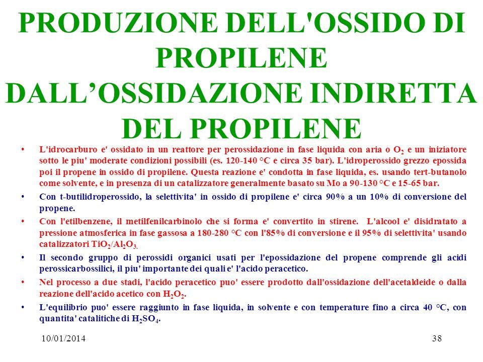 10/01/201438 PRODUZIONE DELL'OSSIDO DI PROPILENE DALLOSSIDAZIONE INDIRETTA DEL PROPILENE L'idrocarburo e' ossidato in un reattore per perossidazione i