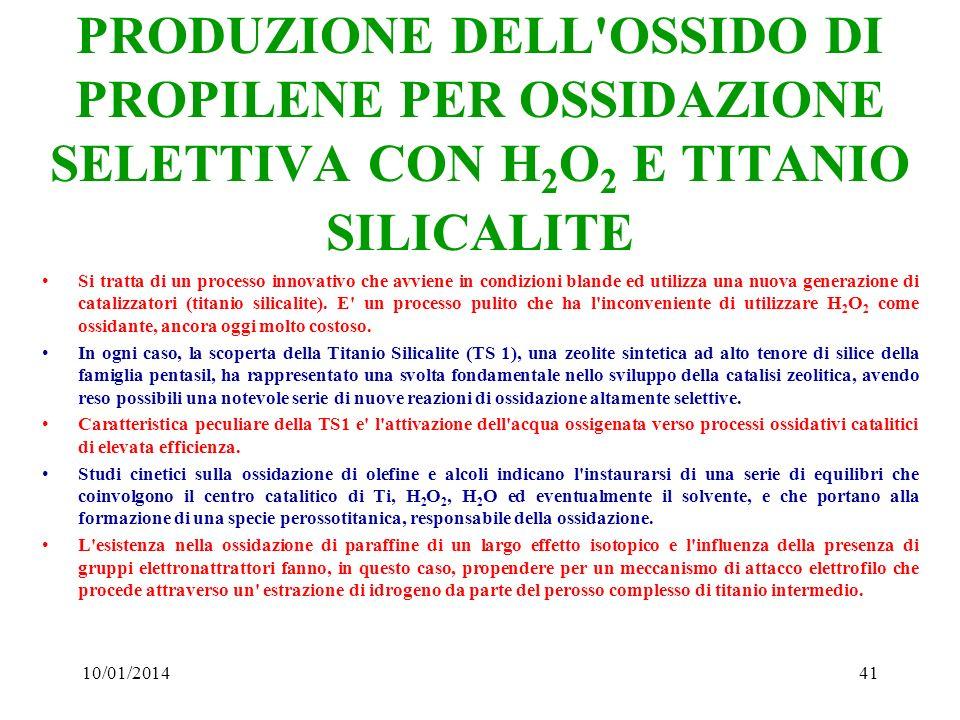 10/01/201441 PRODUZIONE DELL'OSSIDO DI PROPILENE PER OSSIDAZIONE SELETTIVA CON H 2 O 2 E TITANIO SILICALITE Si tratta di un processo innovativo che av