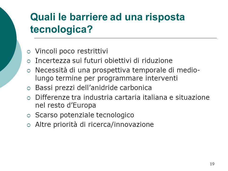 19 Quali le barriere ad una risposta tecnologica.