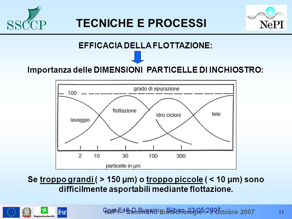NePI – Seminario Biotecnologie – 3 Ottobre 2007 Cost E46-D.Bussini Bilbao, 23/05/2007 11 Se troppo grandi ( > 150 µm) o troppo piccole ( < 10 µm) sono