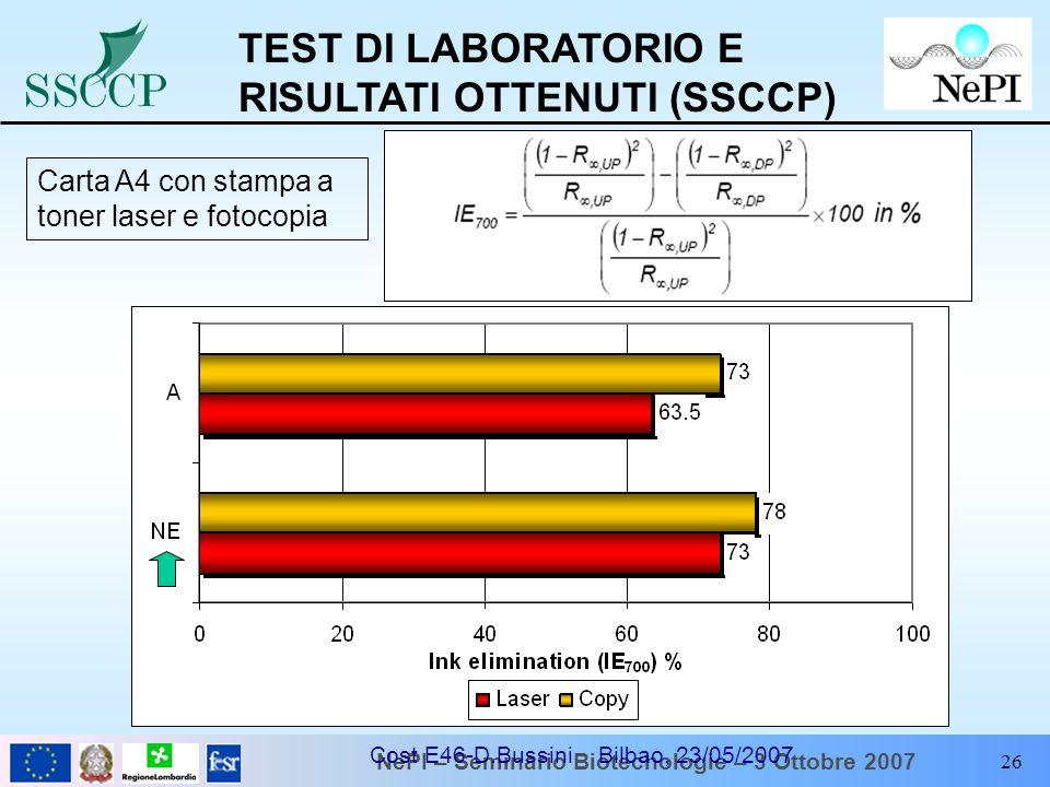 NePI – Seminario Biotecnologie – 3 Ottobre 2007 Cost E46-D.Bussini Bilbao, 23/05/2007 26 TEST DI LABORATORIO E RISULTATI OTTENUTI (SSCCP) Carta A4 con