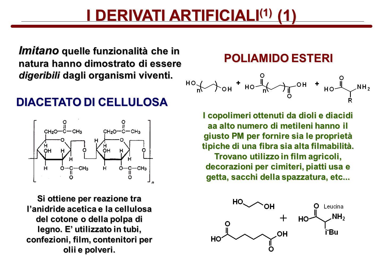 I DERIVATI ARTIFICIALI (1) (1) Imitano quelle funzionalità che in natura hanno dimostrato di essere digeribili dagli organismi viventi. POLIAMIDO ESTE