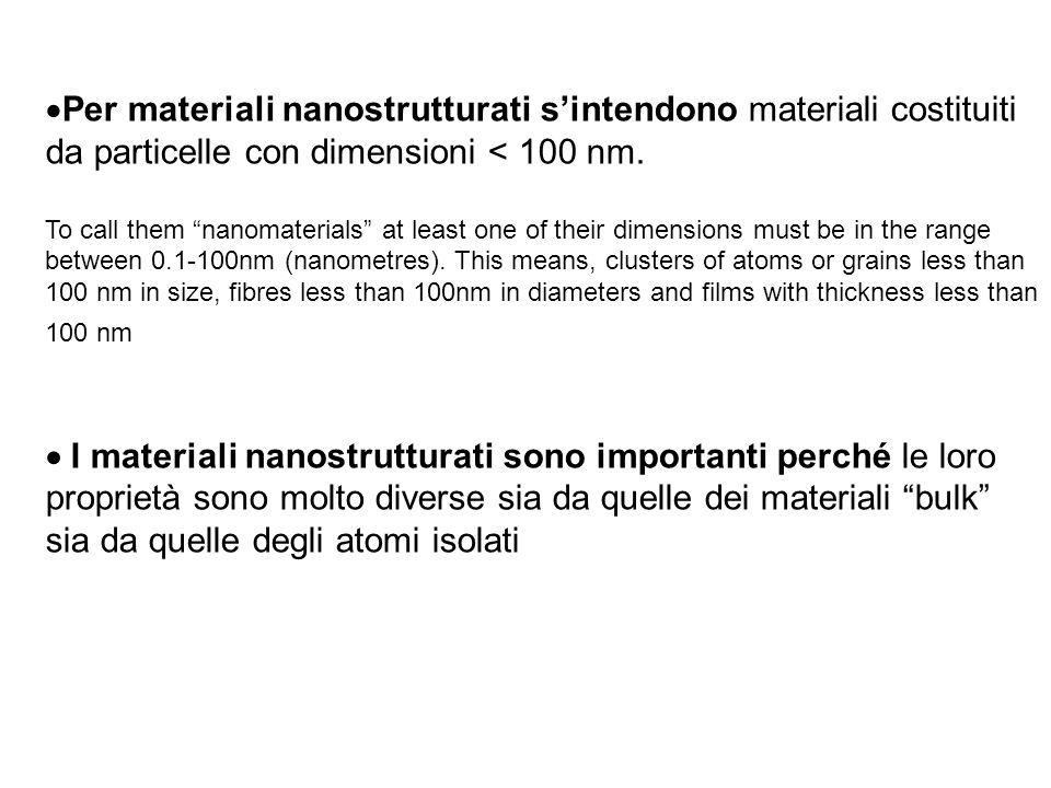 Per materiali nanostrutturati sintendono materiali costituiti da particelle con dimensioni < 100 nm. To call them nanomaterials at least one of their