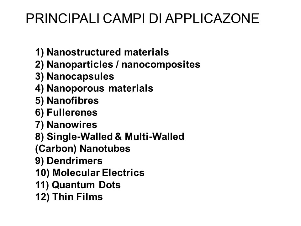 1) Nanostructured materials 2) Nanoparticles / nanocomposites 3) Nanocapsules 4) Nanoporous materials 5) Nanofibres 6) Fullerenes 7) Nanowires 8) Sing
