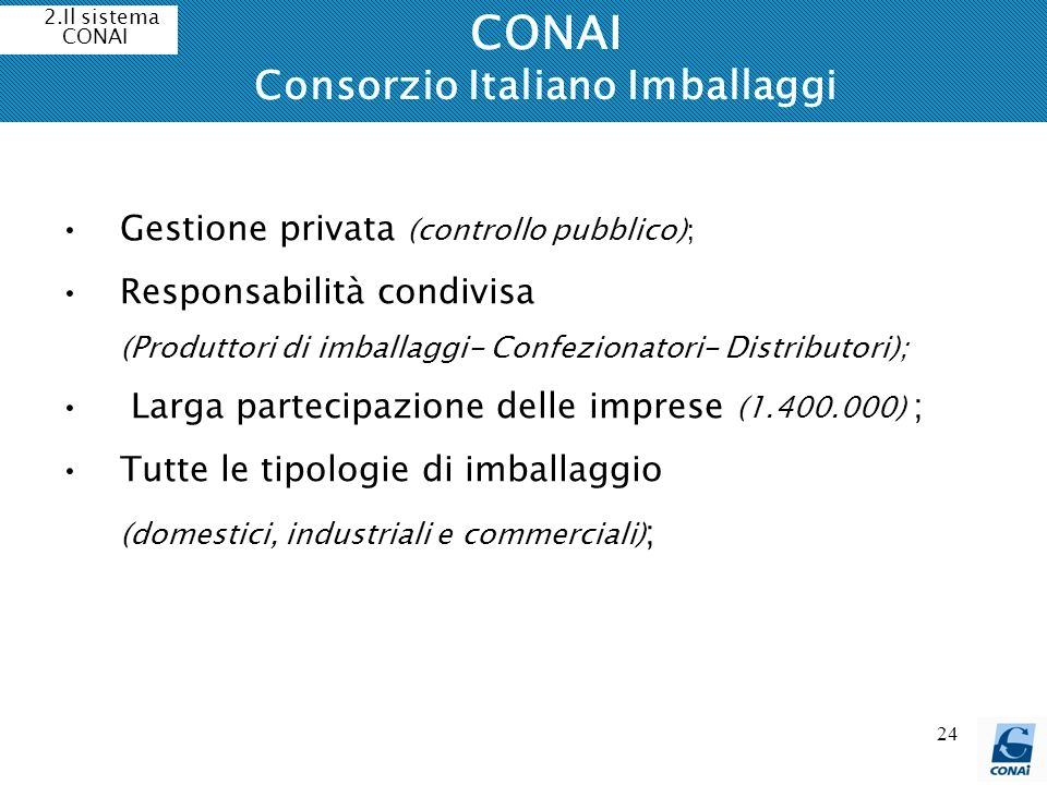 24 CONAI Consorzio Italiano Imballaggi 2.Il sistema CONAI Gestione privata (controllo pubblico); Responsabilità condivisa (Produttori di imballaggi- C
