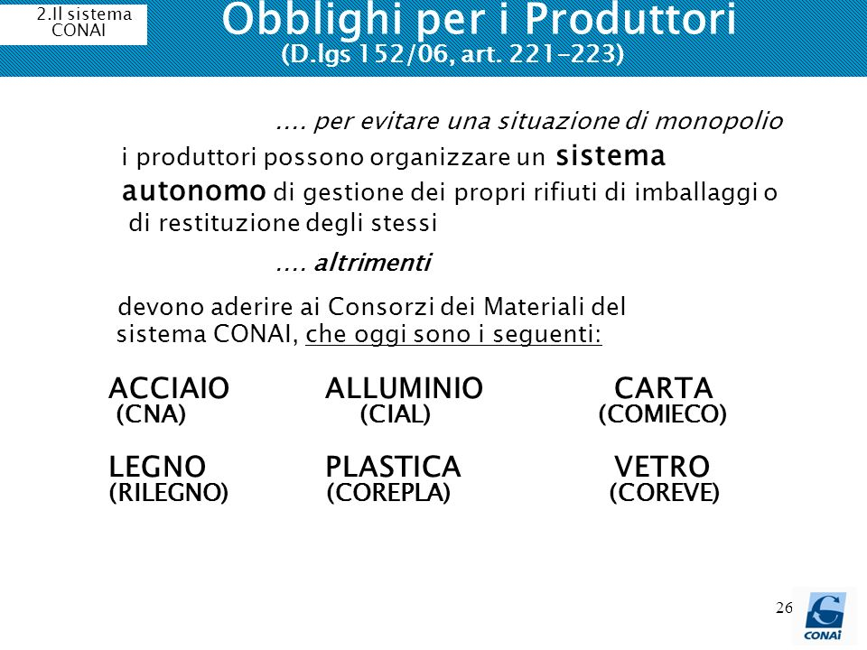 26 Obblighi per i Produttori (D.lgs 152/06, art. 221-223) devono aderire ai Consorzi dei Materiali del sistema CONAI, che oggi sono i seguenti: ACCIAI