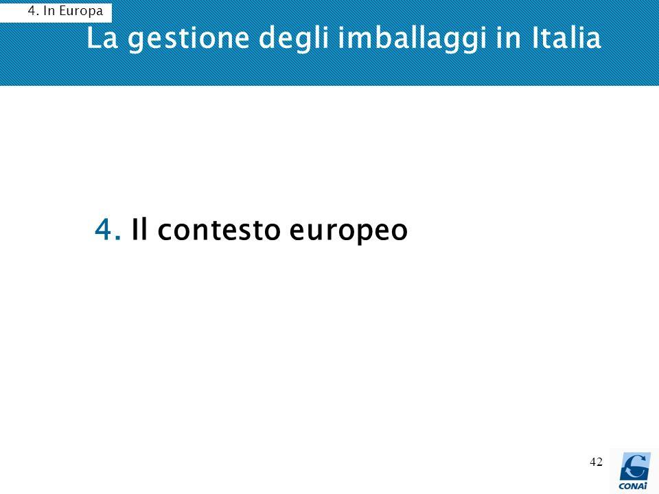 42 La gestione degli imballaggi in Italia 4. Il contesto europeo 4. In Europa