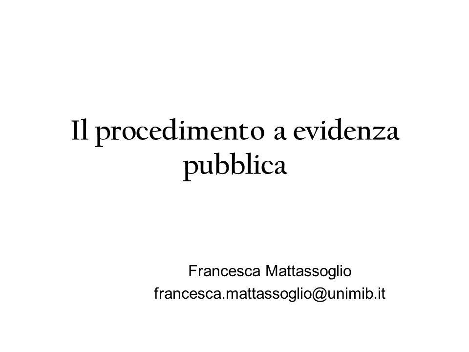 Il procedimento a evidenza pubblica Francesca Mattassoglio francesca.mattassoglio@unimib.it