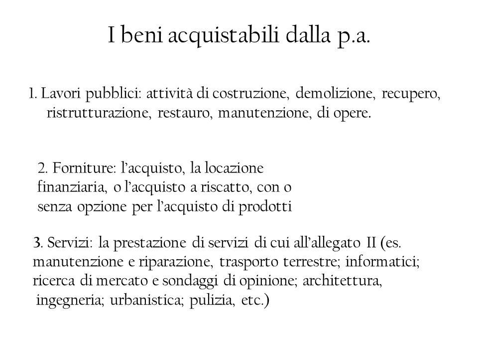 I beni acquistabili dalla p.a. 1. Lavori pubblici: attività di costruzione, demolizione, recupero, ristrutturazione, restauro, manutenzione, di opere.