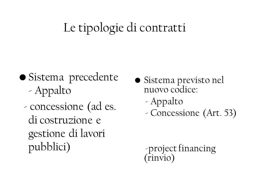 Le tipologie di contratti Sistema precedente - Appalto - concessione (ad es. di costruzione e gestione di lavori pubblici) Sistema previsto nel nuovo